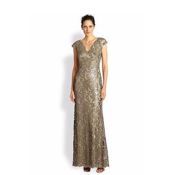 5986a1b90f Tadashi Shoji Dresses | Gold Shimmer Sequin Gown | Poshmark